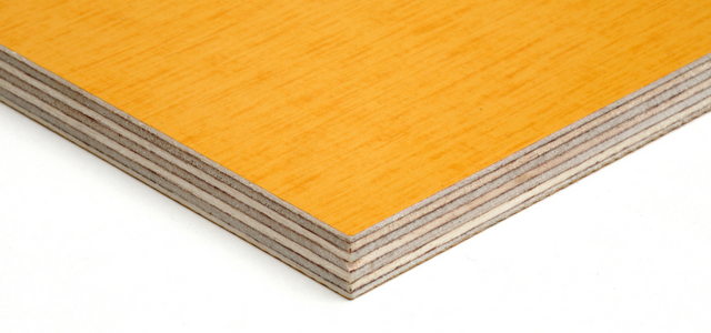 Close up of glue lines and yellow face of our plywood