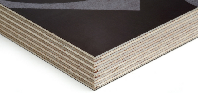 Corner shot of the film faced plywood product