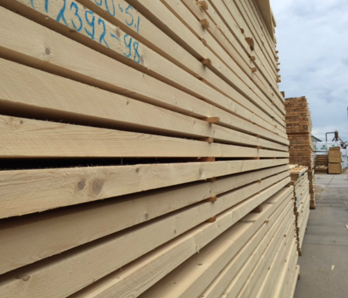 Image showing sawn timber stacked