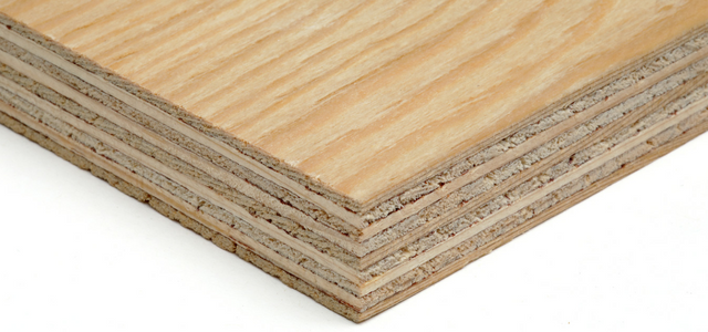 Corner shot showing face and glue lines of softwood plywood